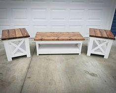 Farmhouse Style Coffee Table, Farmhouse End Tables, X Coffee Table, Coffee And End Tables, End Table Sets, Rustic Coffee Tables, Farmhouse Furniture, Diy Furniture, Diy Living Room Furniture
