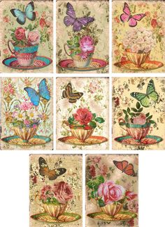 Vintage inspired Tea Cup roses butterflyl note cards ATC altered art set of 8 #Handmade #AnyOccasion