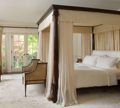 Bedroom Brown Curtains And Traditional Wooden Canopy Bed With Armchairs Canopy Bed Decoration Shocking Bedrooms With Canopy Beds That Make You Feel In Heaven