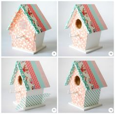 CASITAS DE PAJAROS CON WASHI TAPE