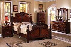 A.M.B. Furniture & Design :: Bedroom furniture :: Bedroom Sets :: Wood Bed Sets :: Headboard & Footboard sets :: 5 pc Lewisburg Dark Cherry Wood Finish Wood Queen Bedroom Set