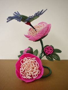 Sorbet Peonies w/Hummingbird French Beaded Flowers by copperglass