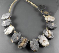 https://flic.kr/p/88ZzKu | Faux Slate Necklace | Polymer Clay Necklace imitating Slate, a very elegant necklace, diese schlichte, aber edel wirkende Kette imitiert Schiefer, sie sieht toll auf einfarbiger Kleidung aus (z. B. einem schwarzen Leinenkleid), genau richtig für den Abend