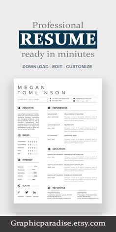 Google Docs Resume Template. Clean resume template and CV design with green motifs
