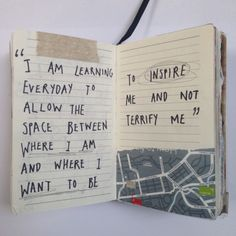 """I am learning everyday to allow the space between where I am and where I want to be to inspire me and not terrify me"""
