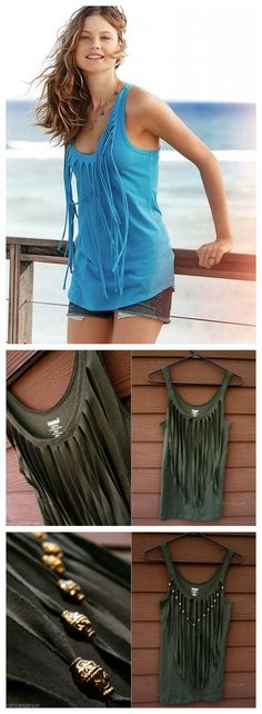 This Victoria's Secret inspired fringe top is so nice. What you will need for this project are 2 Clothes Crafts, Refashion, Clothes For Women, Ladies Clothes, Zentangle, T Shirt, Victoria Secret, Tank Tops, Tees