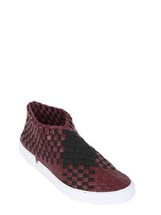 TWO-TONE WOVEN LEATHER SLIP ON SNEAKERS