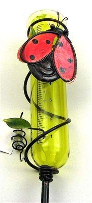 "Ladybug Rain Gauge.  Measures: Glass gauge hold 8"" of rain. Measures 4.5""W x 10.5""H x 3.25""D with a 35"" stake. #ladybug #raingauge"
