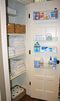 I Like This Linen Closet Makeover With The Baskets On Back Of Door