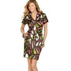Xoxo Geometric print ruched shirt style dress Gorgeous and fitted shirt dress with ruching. Colors of black, green, coral and purple. Matching belt. I hate to let this go but it no longer fits me. Perfect for work or a date night. XOXO Dresses