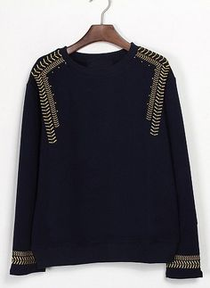 Black Long Sleeve Navy Embroidery Sweatshirt #SheInside