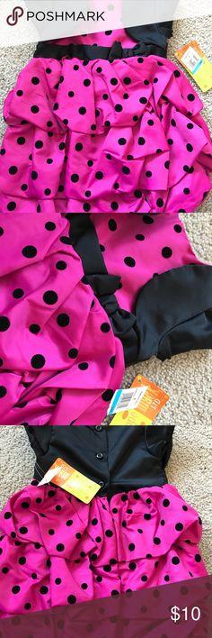 PENELOPE MACK toddler girl dress sz.24!!!NWT brand new baby girl dress penelope mack sz.24 pink with black plush dots  super cute new never worn more 👗 in my closet bundle for savings penelope mack Dresses Casual