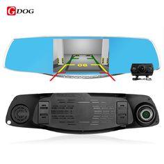 "4.3""newest Dual Camera lens Review Mirror Car DVRS FHD 1080P G-Sensor Motion Dection car video recorder dvr parking Metal frame"