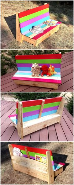 Kids love sharp colors and this reused pallet wood patio kids bench is exactly the right stuff for them. Its really hard to keep your eyes off it… – do pallet Pallet Furniture Kids, Pallet Kids, Pallet Art, Diy Pallet Projects, Wood Projects, Pallet Wood, Wooden Pallet Ideas, Baby Furniture, Cheap Furniture