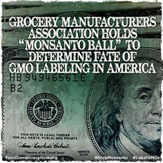 """Grocery Manufacturers Association Holds """"Monsanto Ball"""" To Determine Fate Of GMO Labeling In America. More Here: http://www.motherearthnews.com/real-food/monsanto-ball-gmo-labeling-fate-zwfz1307zkin.aspx#ixzz2ZGYZUIaa"""