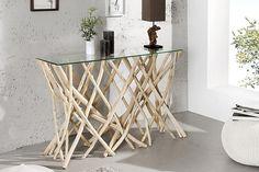 meble - komody i szafki-Konsola Bamboo Natural Country teak 120cm
