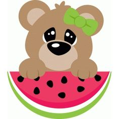 Silhouette Design Store: Cute Bear Peeking Over Watermelon Tole Painting, Fabric Painting, Teddy Bear Names, Cute Bunny Cartoon, Silhouette Online Store, Ornaments Design, Cute Bears, Rock Crafts, Cricut Creations