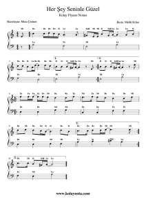 Her Sey Seninle Guzel Kolay Piyano Notasi Piyano Flut Muzik