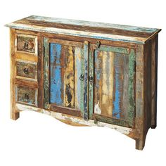 Bring rustic charm to your foyer or dining room with this eye-catching sideboard, featuring an upcycled wood frame and iron-finished hardware.