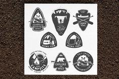 Vintage camping and hiking badges by 1baranov on @creativemarket