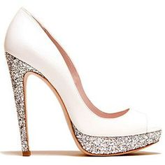 Miu Miu white glitter pumps- Great for a wedding shoe Crazy Shoes, Me Too Shoes, Cute Shoes Heels, Glitter Pumps, White Glitter, Sparkle Shoes, Sparkly Heels, Bling Heels, Prom Shoes