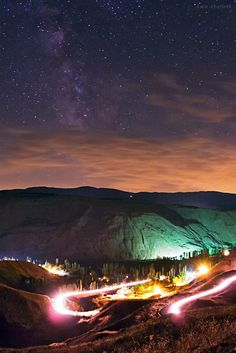 Milky Way Galaxy sparkles over mountains in Iran