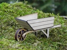 Fairy Garden Wheelbarrow - Miniature Handmade Wooden Natural