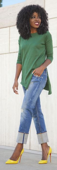 Green Tunic Sweater by Style Pantry