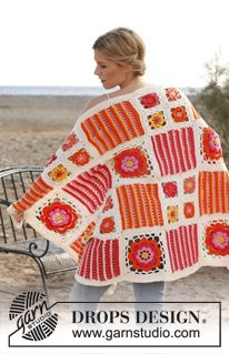 """Orange Blossom - Crochet DROPS blanket with different squares in """"Paris"""". - Free pattern by DROPS Design"""