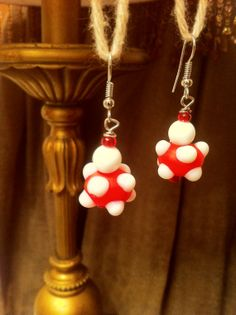 Sterling Silver Dangle Earrings with Red and White Spotted Glass Beads!