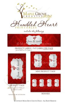 Humbled Heart Printable Tags for Crochet Knit Handmade by MapleGroveCreative