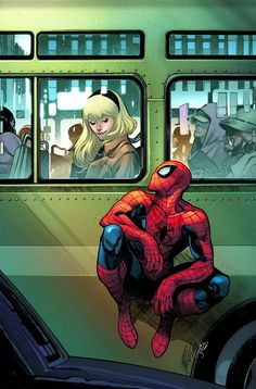 The Amazing Spider-Man - Gwen Stacy variant cover by Pepe Larraz, colours by Marte Gracia * Marvel Dc Comics, Marvel Art, Marvel Heroes, Marvel Avengers, Spiderman Marvel, Ms Marvel, Captain Marvel, Spiderman Kunst, Spiderman Spider