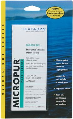 Katadyn Micropur Purification Tablets Kills Bacteria, Viruses, Giardia, and Cryptosporidium. The only purification tablet (or liquid) EPA registered as a microbiological water purifier. Emergency Water, Emergency Preparedness, Emergency Kits, Portable Water Filter, Water Purification Tablets, Camping Water, Outdoor Gadgets, Outdoor Gear, World Water