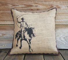 Burlap Pillow Cover of Cowboy, Cushion, Throw Pillow, Western. $46.00, via Etsy.