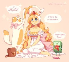 """Fionna, Cake and BMO from """"Adventure Time"""" I was very surprised, when Fionna appearance in dress which based on princess Serenity (Sailor Moon) dress. So, I drawed Fionna in real princess Serenity . Sailor Moons, Fanart, Hyanna Natsu, Mundo Nerd, Jake The Dogs, Moe Anime, Moon Princess, Princess Serenity, Bubbline"""