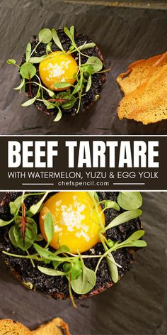 Beef Tartare With Watermelon, Yuzu & Egg Yolk Recipes by Chef Giorgio Rapicavoli Best Beef Recipes, Chef Recipes, Food Network Recipes, Beef Tartare, Tartare Recipe, Egg Yolk Recipes, Star Chef, Recipe Boards, Executive Chef