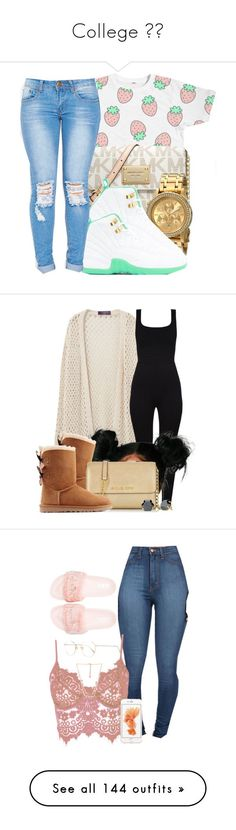 College  by jadechanteon ❤ liked on Polyvore featuring MICHAEL Michael Kors, Nixon, schoolflow, schoolstyle, bts, Violeta by Mango, UGG Australia, Michael Kors, Stella  Dot and Puma