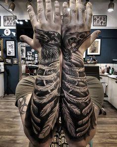 Raven Forearm & Hand Tattoos