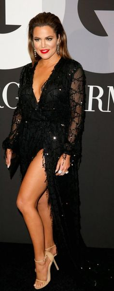 Khloe Kardashian in a sexy gown at the Grammys after party.