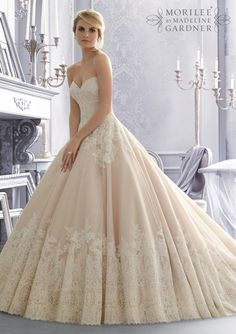Mori Lee 2674 Bridal Gowns / Dresses 2674 Alencon Lace on Organza Wedding Gown with Wide Border Hemline