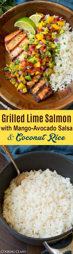 Grilled Lime Salmon with Mango-Avocado Salsa and Coconut Rice - this is the perfect summer meal! Loved everything about this! Grilled Lime Salmon with Mango-Avocado Salsa and Coconut Rice - this is the perfect summer meal! Loved everything about this! Salmon Recipes, Fish Recipes, Seafood Recipes, Cooking Recipes, Healthy Recipes, Recipies, Dinner Recipes, Dinner Dishes, Chicken Recipes