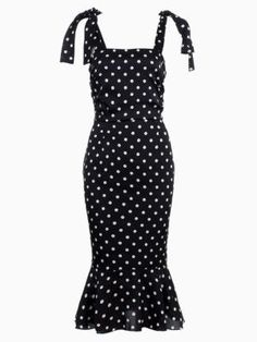 Shop Bow Shoulder Polka Dot Midi Dress with Trumpet Hem in Black from choies.com .Free shipping Worldwide.