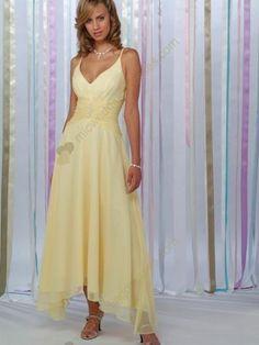 c7103daea2b1 Yellow A line spaghetti straps V neck tea length beading satin chiffon  bridesmaid dress  123.96 The
