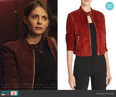Thea's red studded suede jacket on Arrow. Outfit Details: https://wornontv.net/71385/ #Arrow