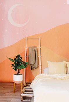 Bohemian Wallpaper, Trendy Wallpaper, Retro Wallpaper, Retro Bedrooms, Modern Bedroom, Bedroom Murals, Bedroom Wallpaper, Bedroom Ideas, Bedroom Designs