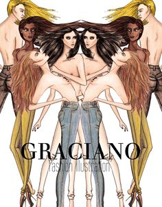 GRACIANO fashion illustration: SKINNY JEANS Collection
