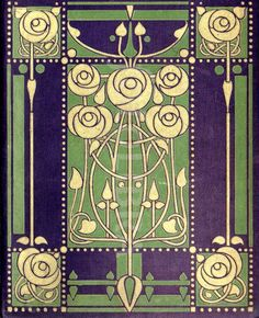 Art Nouveau book design Glasgow School. (An original highly-stylized Art Nouveau design for a book binding, c. 1904-1906