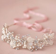 Bohemian Ivory Pearl Halo headpiece Rhinestone by BewitchingLace, £45.00