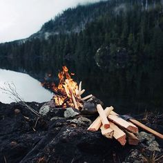 """""""Fire, coffee, mountains. All day. #getoutdoors #upknorth Wild solitude shot by @graeme_o"""""""