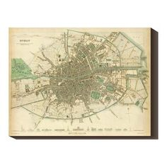 | Giclee Canvas Historical Map of Dublin, Ireland.